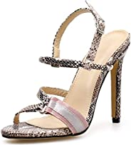 BIAN Heeled Sandals for Women Heel Stilettos Open Toe Ankle Strap Synthetic Leather Party Snakeskin with Metal
