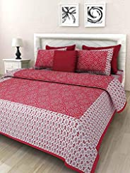 Harsh Textiles Handprinted 120 TC Cotton Block Print Bedsheets with 2 Pillow Covers (Red, Queen Size, HT-102)