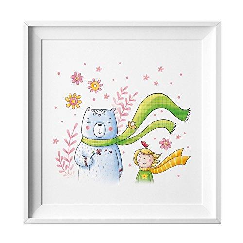 nikima Schönes für Kinder 008 Kinderzimmer Bild Bär Schal Poster Plakat Quadratisch 20 x 20 cm (Ohne Rahmen)