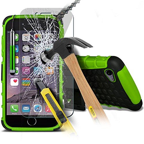 Aventus ( Red ) Apple iPhone 6S Case Protective Elegant Tough Survivor Fest Rugged Shock Proof Heavy Duty Case W / Back-Standplatz, ausgeglichenes Glas-LCD-Display Schutzfolie, Poliertuch und Mini-ver Shock Proof + Tempered ( Green )