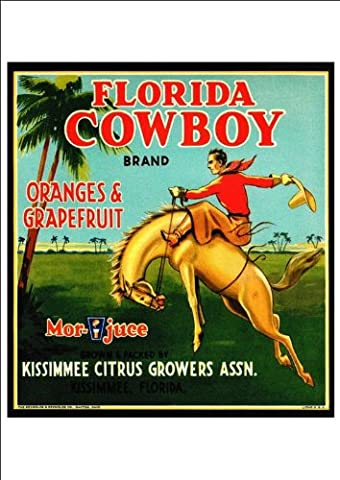'Florida Cowboy Brand - Oranges And Grapefruit' - Beautiful Print Taken From A Vintage Produce Crate Label