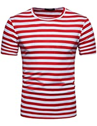 ❤️OHQ Camisa De Blusa De Hombre Camiseta De Manga Corta para Hombres Camiseta De Manga Corta con Botones En Los Hombres Rosa Negro… qZjT3