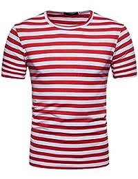 ❤️OHQ Camisa De Blusa De Hombre Camiseta De Manga Corta para Hombres Camiseta De Manga Corta con Botones En Los Hombres Rosa Negro…