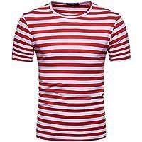 OHQ Blusa Superior de la Camiseta del Verano del Cuello Redondo de la Raya de los