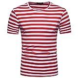 OHQ Blusa Superior de la Camiseta del Verano del Cuello Redondo de la Raya de los Hombres Ocasionales,Camisa de Hombre Camisa de Hip Hop Camiseta Hombre Camiseta de Hombre Camisa Hipster (S, Rojo)