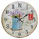 QIAOB Vintage Madera Creativo Reloj de Cuarzo montado en la Pared Simple Creativo Reloj de Pared-Sala de Estar/Dormitorio y Cocina,C