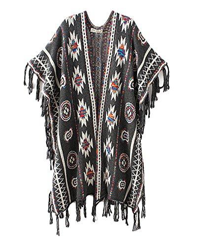 Femmes Casual Cape Gland Châle Chandail Cardigans Pull Sweater Gris foncé