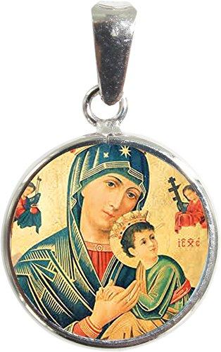 Ferrari & Arrighetti Medalla Virgen del perpetuo Socorro de Plata 925 y Porcelana - 1,8 cm