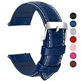 Fullmosa Bambu Piel Correa,7 Colores para Correa/Banda/Pulsera/Strap de Reloj Huawei/Samsung/Recambio/Reemplazo 18mm 20mm 22mm 24mm,Azul Oscuro 22mm