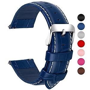 Fullmosa 7 Farben Für Uhrenarmband, Echtes Kalbsleder Uhrarmband für Mann Frau Bambus Muster Lederarmband mit Edelstahl Metall Schließe 18mm 20mm 22mm 24mm