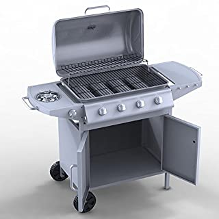 Silver 4+1 Professional Stainless Steel 4 Burner Gas Wagon Barbecue with Side Burner