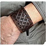 Jirong Antique Men's Brown Leather Cuff Bracelet, Leather Wrist Band Wristband Handcrafted Jewelry SL2259