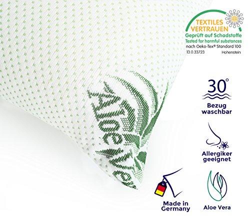 Mister Sandman ergonomisches Kissen und Nackenkissen - Antiallergisches Kopfkissen aus Viscoschaum mit 1 Aloe-Vera-Bezug - Traumhaft Schlafen leicht gemacht (40 x 80cm, weiß)