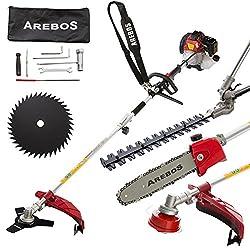 Arebos 5 in1 Benzin Gartenwerkzeug Multitool - Heckenschere Motorsense Hochentaster Rasentrimmer Kreissäge 52ccm/2,1 PS