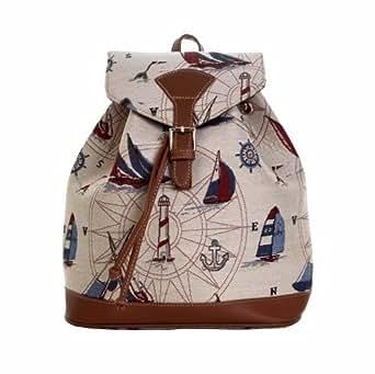 femmes mode petit sac dos de voyage roulettes sacs en mailles le vent et voiliers. Black Bedroom Furniture Sets. Home Design Ideas