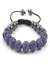 11-Ball Purple Bead Shamballa Bracelet with no strings