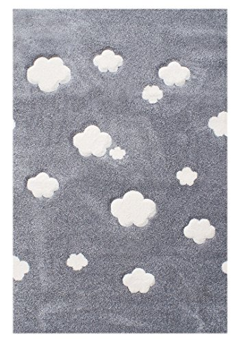 Kinderteppich Love Rugs AUF WOLKE 7 silbergrau/creme 120x180 cm