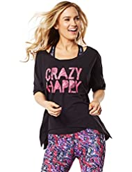 Zumba Fitness Crazy Happy Off The Shoulder - Camiseta para mujer
