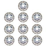 10X Diamant-Trennscheibe ED7 Ø 115 mm- 22,23 mm Bohrung Diamanttrennscheibe für Bordstein, Verbundsteine, Pflaster und Rasenkantensteine, Mauersteine, Dachziegel (mittelhart), Altbeton (mittelhart), allgemeine Betonerzeugnisse, Betonprodukte, Beton (ohne Armierung)
