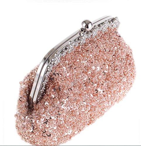 Pochette Di Diamanti Con Paillettes Da Sposa Borsa Vintage Elegante Gnocco Tipo Conchiglia Borsa Da Sera Per Matrimonio Prom Champagne