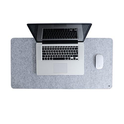 FORMGUT Filzunterlage Antirutsch, Mousepad Schreibtisch-Unterlage Deskpad Filz Tisch Schreibtisch-Matte Mauspad, modern Rutschfest grau groß - Hellgrau