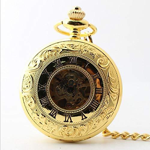 Kamiwwso Halbautomatische mechanische Taschenuhr mit Kette, Roman Dial Persönliche Casual Taschenuhr (Color : Gold)