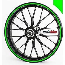 """Adhesivos Motoking para llantas 360 °, 9 mm de ancho, verde neón/rueda completa/desde 15"""" hasta 18""""/color y ancho opcionales"""