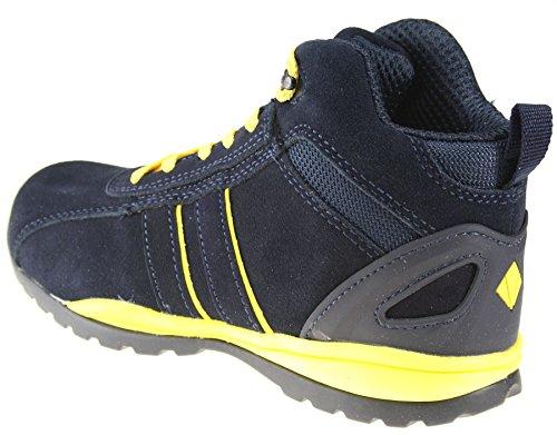 ET Safety C8137 Noir Brun miel marine arrière en cuir à lacets Coque en acier SB Chaussures Noir - Bleu marine