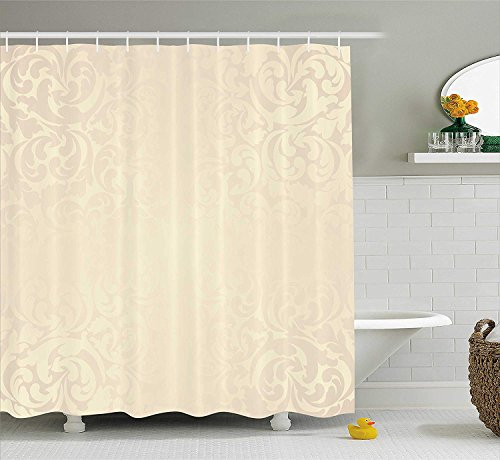 VVIANS Ivory Shower Curtain, Classic Victorian Style Monochrome Damask Background with Swirl Floral Effects Artsy Print, Fabric Bathroom Decor Set with Hooks, 60 * 72 Inch, Cream Ivory Floral Swag