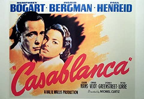 Casablanca Humphrey Bogart Landschaft Classic Große Vintage Papier Film Poster Maßnahmen 87,6x 67,3cm (66x 88cm) ca.