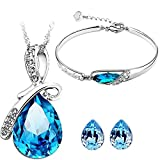 Valentine Gifts Jewelry for Women : Shining Diva Blue Crystal Combo Jewellery of Pendant Set / Necklace Set with Earring and Bracelet For Girls and Women