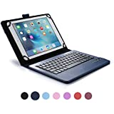 Funda tipo Folio Cooper Cases (TM) Infinite Executive para tablet de Huawei MediaPad 10 FHD, 10 Link, 10 Link+ con teclado Bluetooth en Azul oscuro (soporte incorporado, teclado QWERTY extraíble, batería recargable)