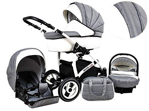 Kinderwagen whitelux, 3 in 1- Set Wanne Buggy Babyschale karbon grau