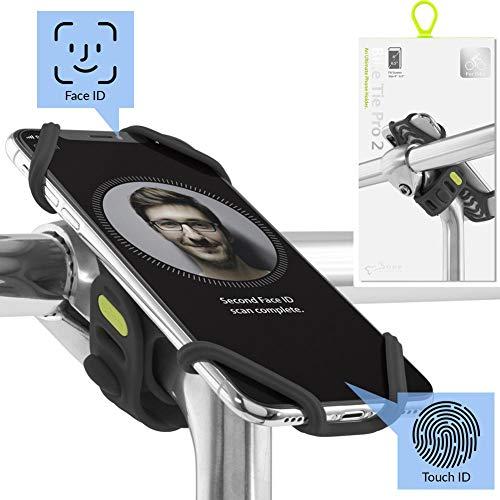 Bone Collection Face ID kompatibel, Fahrrad Handyhalterung für den Vorbau Befestigung 4 - 6,5 Zoll Smartphones, Ultra leichtes Gewicht, für Straßen-, Renn- sowie Tourenrad - Bike Tie Pro 2, Schwarz