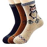 Calze donna calde di lana calde da 3 a 5 coppie con varie stampe di moda (3 pezzi - civetta)