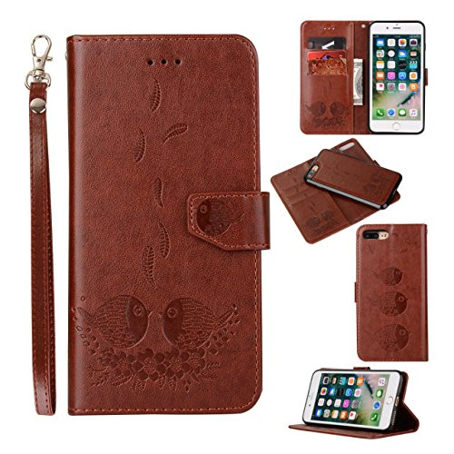 EKINHUI Case Cover Embossing Bird Pattern PU Ledertasche mit abnehmbarem Back Cover, Flip Stand Wllet Tasche mit Lanyard & Card Slots für iPhone 7 Plus ( Color : Black ) Brown