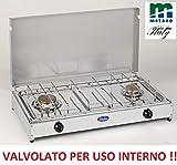 Gaskocher Tisch Parker Gas Methan 2Brenner mit Ventile Sicherheit für Verwendung Innen–Boden Edelstahl Rahmen Grau