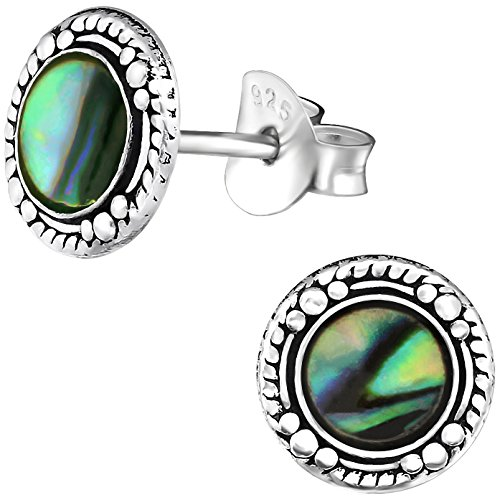 EYS JEWELRY runde Damen Ohrstecker 925 Sterling Silber oxidiert Abalone Paua Muschel natur 8 mm Damen-Ohrringe im Geschenketui