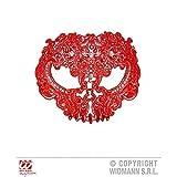 Lively Moments Augenmaske / Gesichtsmaske Totenkopf aus roter Spitze mit Strass für Fasching / Halloween