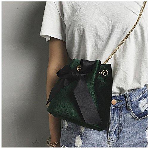 Longra Donna Sacchetto di spalla singolo della catena dellarco della camicia Verde
