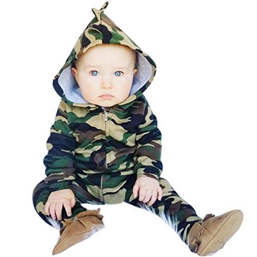 Yannerr Bebé recién nacidos niños niñas camuflaje encapuchado mameluco traje ropa (70)