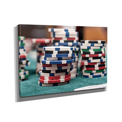 Nerdinger Pokerchips - Kunstdruck auf Leinwand (90x60 cm) zum Verschönern Ihrer Wohnung. Verschiedene Formate auf Echtholzrahmen. Höchste Qualität. (Casino Dekoration Ideen)