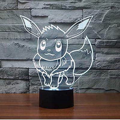 WoloShop Lampara LED Pokémon Eevee Cambia Color USB Luz Nocturna de WoloShop