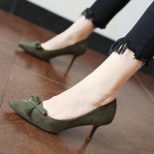 FLYRCX Primavera e autunno il filtro bow tie suede singola calzatura lady temperamento personalità sexy bella tacco alto scarpe tacco B