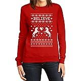 Believe in Unicorns/Einhörner - Ugly Christmas Sweater/Weihnachtspullover Sweater Frauen Rot XX-Large Sweatshirt - Lustige Weihnachtsmode