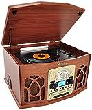 Pyle PTCDS7UBTBW Bluetooth Turntable System, Retro Vintage Classic Style Vinyl Record Player
