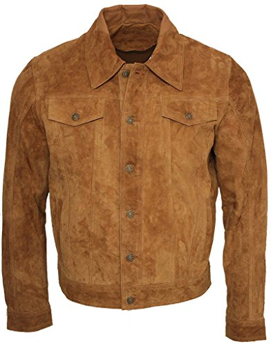 Camionero de Hombres Bronceado Casuales Jeans Camisa de Cuero Gamuza de Cabra Jacke S