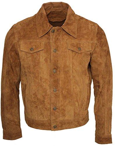 Herren Trucker Bräunen Ziegenvelours Leder Hemd Jeans Jacke 3XL (Braune Echt Leder Jacke)