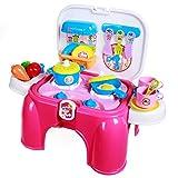 SGILE Playset del Giocattolo di Cucina per Bambini Finta di Cottura Alimentare Set Sgabello Multipla