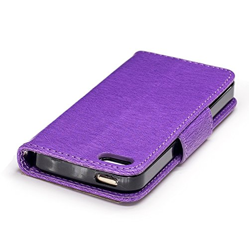 Coque iPhone 5S, Coque iPhone 5,Coque iPhone SE, LuckyW PU Housse en Cuir pour Apple iPhone 5 5S SE Papillon Motif Clapet Flip Folio Wallet Portefeuille Case Elegant Durable Protecteur une Portable Ho Pourpre 1